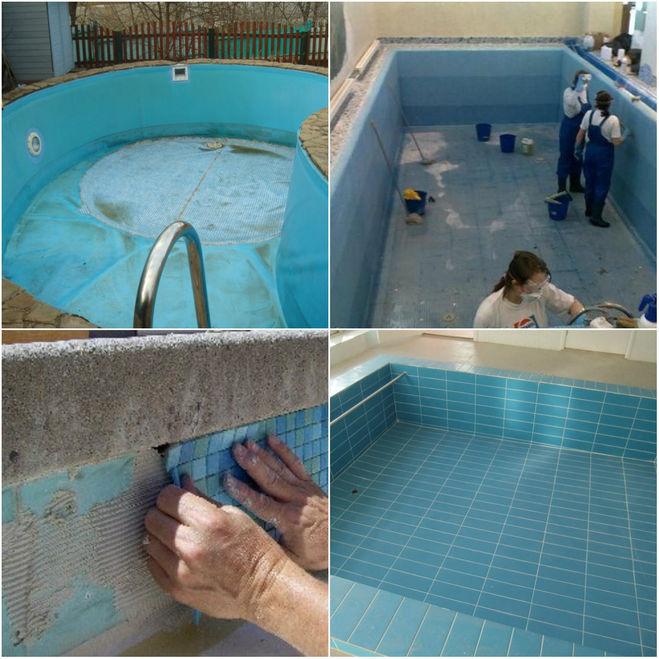 ремонт бассейнов: ПВХ и плиточного