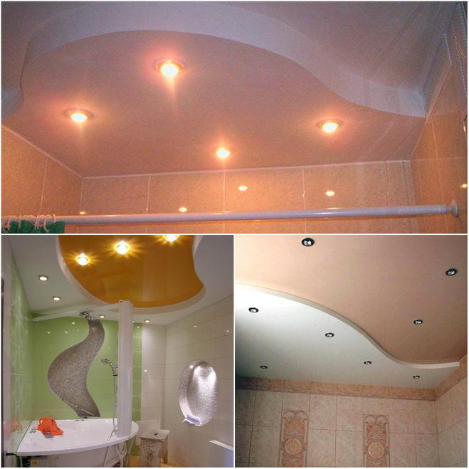 потолок в ванной, разный цвет