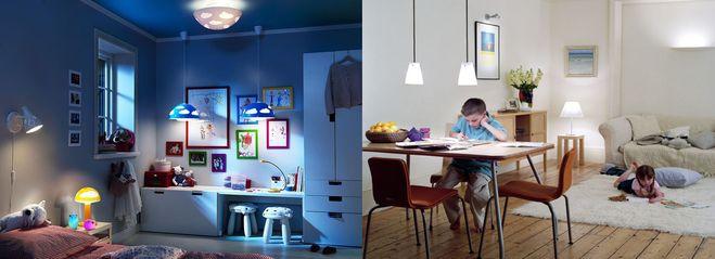 Комбинированное освещение детской комнаты.