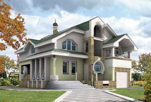Проект кирпичного дома с верандой и гаражом.