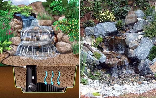 пруд, водопад