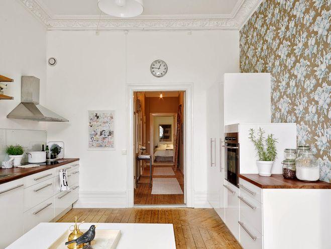 кухня, обои комбинированные