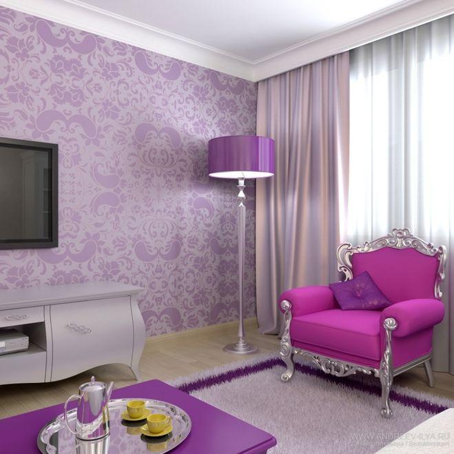 Дизайн гостиной фиолетовой