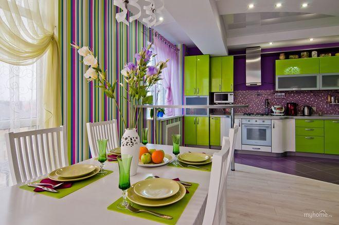 Дизайн кухни фиолетовый цвет