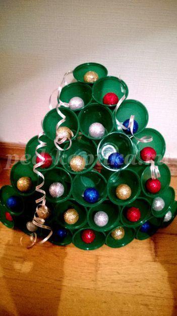 Сделать елку своими руками из пластиковых стаканчиков фото 705
