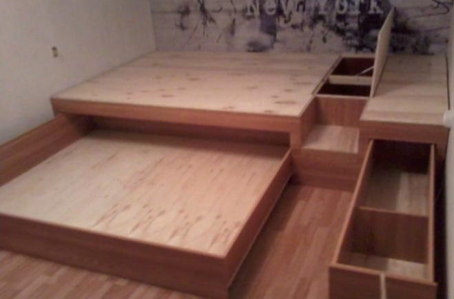 Как сделать кровать своими руками с выдвижными ящиками