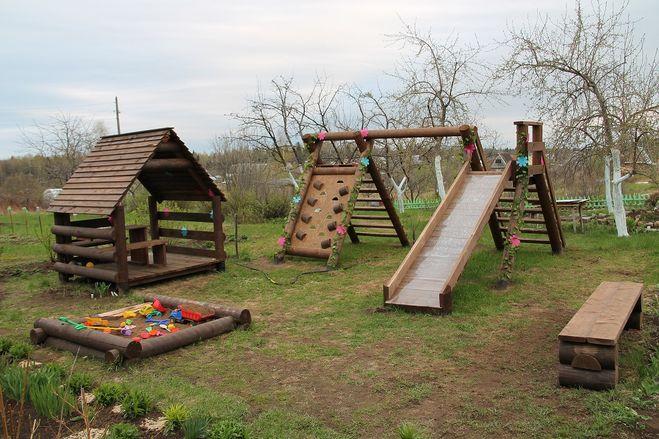 Детская площадка из дерева своими рука