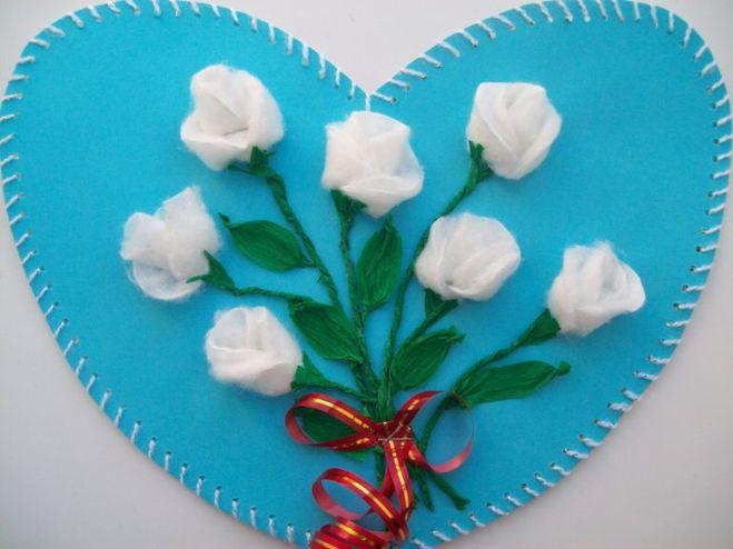 цветы из ватных тампонов