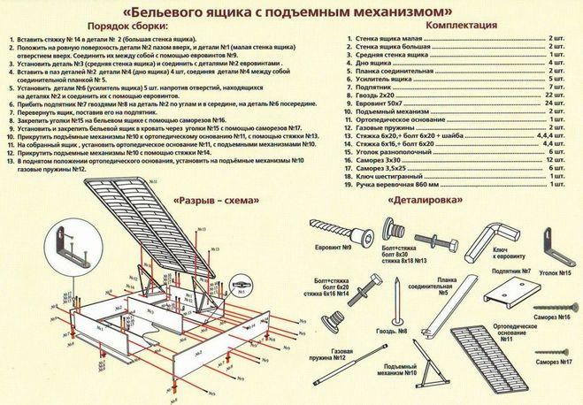 Подъемный механизм кровати чертежи 93