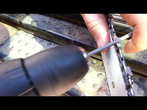 Заточка цепи бензопилы своими руками видео на станке