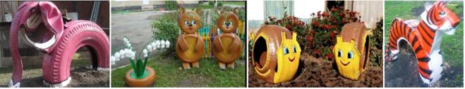 Садовые скульптуры из шин