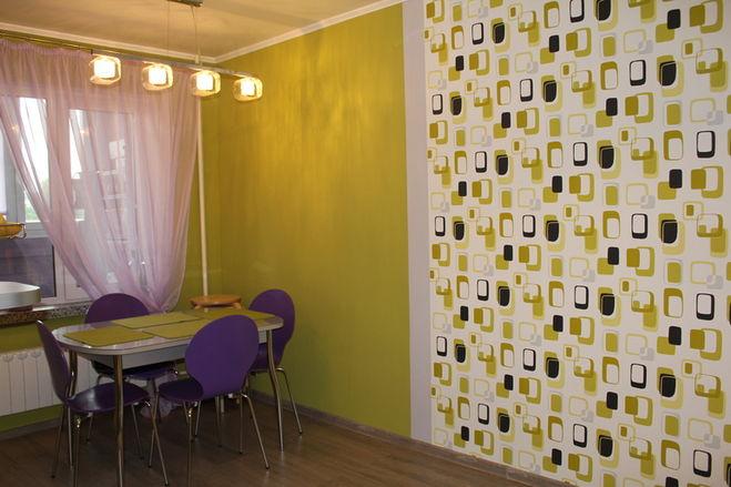 на чем фото стены оклеить кухне