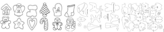 выкройки для елочных игрушек из фетра