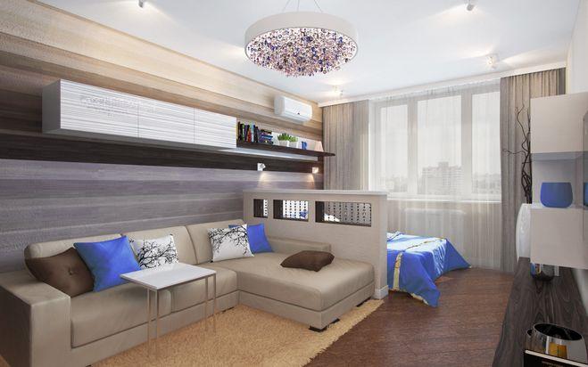 гостиная и спальня, через мини-перегородку