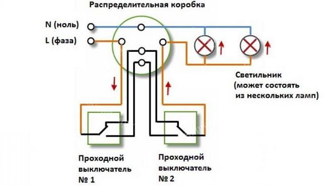 Схема лампа два выключателя фото 338