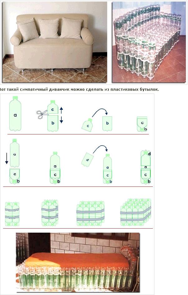 Мебель из пластиковых бутылок своими руками фото