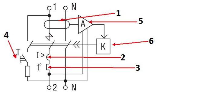 Схема диффавтомата.