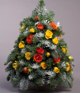 Цветочная елочка на год Огненного Красного Петуха