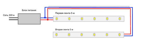 схема параллельного подключения нескольких сегментов led-ленты