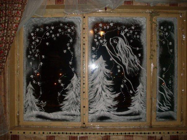 Зимние узоры на стекле своими руками