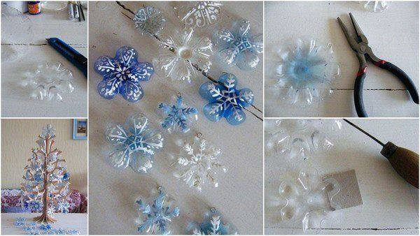 Как сделать снежинку из пластиковой бутылки