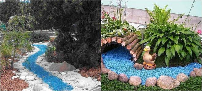имитация водного объекта цветным песком