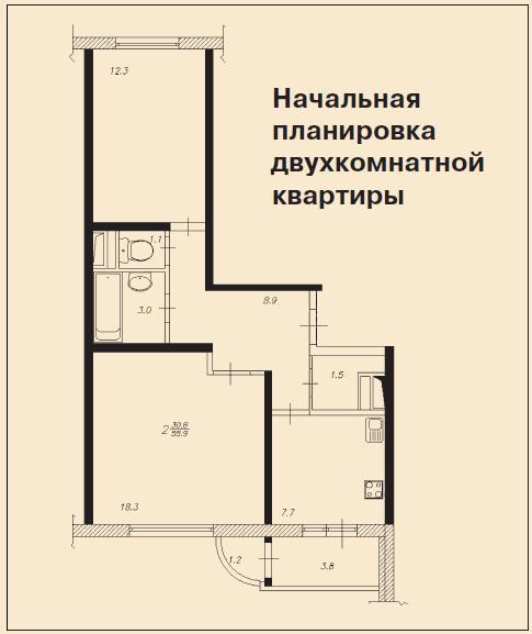 Какие встречались удачные проекты перепланировки 2х комна....