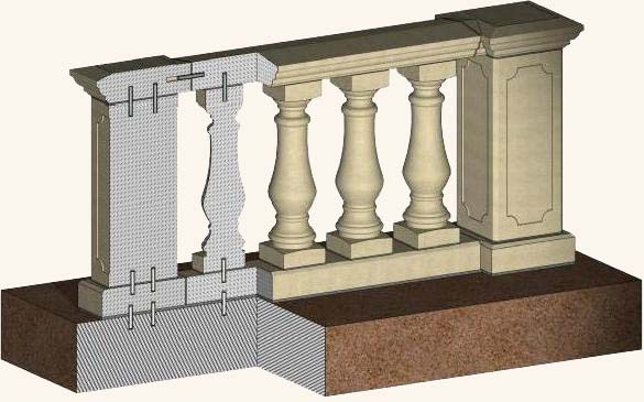 Как установить бетонные балясины