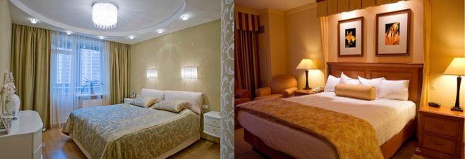 Комбинированное освещение спальни.